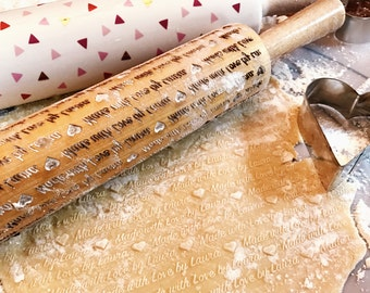 Personalized Rolling Pin, Made With Love By, Customized Rolling Pin, Embossing Rolling Pin, Engraved Rolling Pin, Pattern Rolling Pin