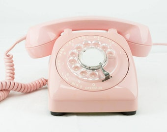Beautifully Restored & Flawlessly Refurbished Working Automatic Electric Vintage Rotary Dial Phone - Pink