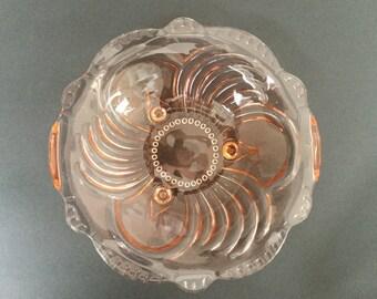 Depression Glasschale, rosa Pressglas Obstschale, Vintage-Teller 1930, Rosalin Glas, schöne Artikel für Vintage-Sammler