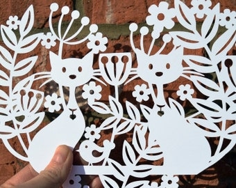 Cat Garden Paper Cut Template, SVG / DXF Cutting File For Cricut / Silhouette & PDF Hand Cutting Printable. Digital Download