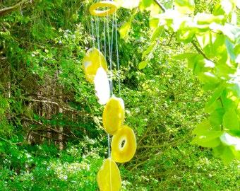 """Achat Windspiel, XL, 28'' Zoll Länge, Scheiben, jeweils 3,5"""" Zoll, gelb, metaphysischen, Schutz, Geschenk, Dekoration, Heimtextilien"""