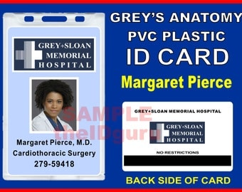 "Grey's Anatomy (Maggie Pierce's) ID Badge / Card Prop ~ PVC Plastic ID Card ""Grey + Sloan Memorial Hospital"" - usa Ships within 1-2 Days"