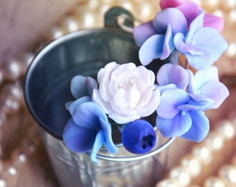blue hair pin, blue flowers, for hair, blue flowers pins, blue hair pins,  something blue, for bride,