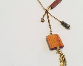 Wood and Wing Feather Necklace