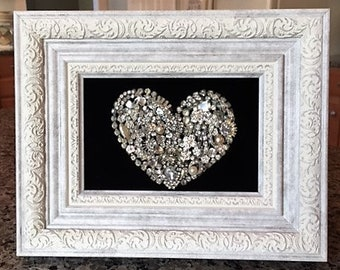 Framed Heart Art with Vintage/Costume Jewelry Handmade