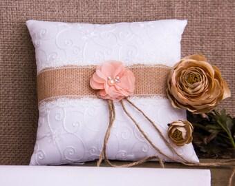 Rustic Ring Bearer Pillow, Burlap Ring Bearer Pillow, Lace Ring Bearer Pillow, Wedding Ring Pillow, Lace Ring Pillow