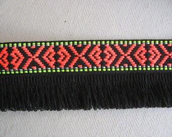2 Yards Bohemian Fringe Trim, Fringe Ribbon, Fringe Tape,  Black Aztec Trim