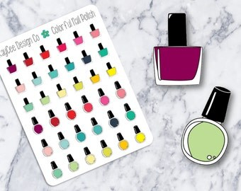 Colorful Nail Polishes / Hand Drawn / Functional / Tracking / Planner Stickers /  Fits Erin Condren & MAMBI / Kikki K / FiloFax