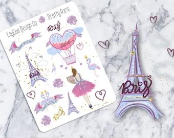 Pretty Paris Deco / Eiffel Tower / Beauty / Hand Drawn / Planner Stickers / Scrapbook / Erin Condren Vertical / MAMBI / Kikki K / FiloFax