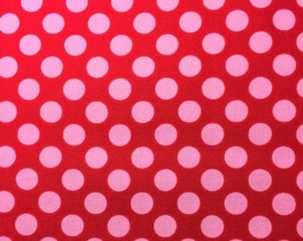 Fabric Remnants - Red with pink dots