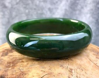 Candian Nephrite Jade Bangles - AA Grade - Dark Rich Green - Multiple Sizes - Summer Sale - 10% off - Promo Code: Summer2017
