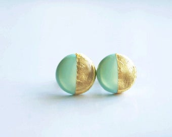 Mint clay round gold leaf stud earrings Mint stud Polymer clay earrings Hypoallergenic mint post earrings Christmas gift gifts for her