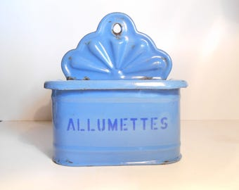 Vintage French Blue Enamelware box for Matches,  enamel matchbox, French sabby Chic, retro,1950's