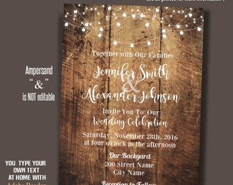 Wedding Invitation, Rustic wood and lights, barn wedding, Instant Download Self editable PDF file A201