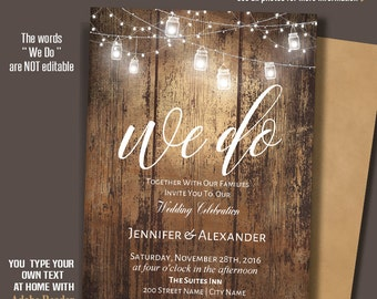 Printable Wedding Invitation, We do Invite, Rustic Wedding invitation, Barn wedding Templates, Instant Download Self-Editable PDF A210