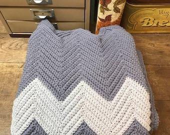 Vintage Afghan Blanket Throw Handmade Chevron Gray Slate Blue