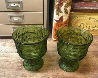 Vintage Vase DIsh Bowl Set of 2 EO Brody Green Crinkle Glass Pedestal