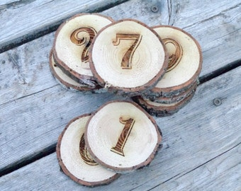 Wood Slice Table Numbers, Engraved, Rustic Wedding, Engraved Wedding Decor, Country Wedding