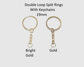19mm Double Loop Split Rings With Keychains - Choice of Colours - Metal Keychains Used For Many Crafting, Jewellery and Household Situations