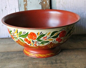 Tole Painted Compote Bowl