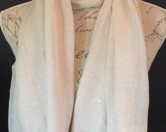 Cream glitter scarf