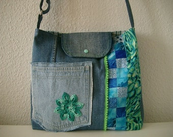 Jeans bag with crocheted flowers and patchwork in blue turquoise