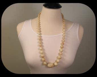 "Vintage Massive Marbled Brown-Beige Lucite Beads NECKLACE 30"""