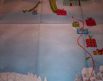 1 panel Tis the Season from Red Rooster Fabrics snowman village wrapped gifts scenic blue white cotton fabric