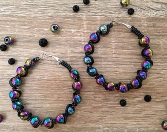 Rainbow hematite wire wrap hoop earrings