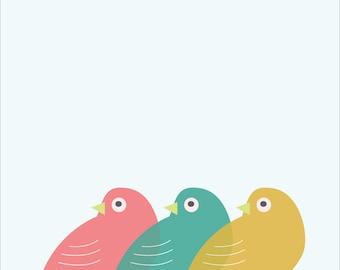 "Wall Art Print, ""Birds in a Row"" Print, Bird Print, Modern Wall Art, Pastel Print"