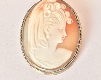 800 silver cameo brooch or pendant