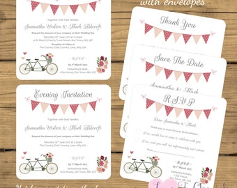 PRINTED Personalised Wedding Invites-Save The Date-RSVP-Thank You Cards-Vintage Shabby Chic Tandem Bike Bicycle Bunting-Evening/Reception