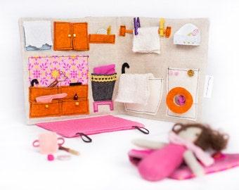 Charming Sewn Fabric Travel Dollhouse (Orange U0026 Pink) With Handmade Accessories / Portable  Dollhouse /