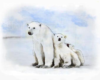 Polar Bear Family - kids decor - kids room - Nursery Art - Nursery Prints - Animal Prints - Childrens Art