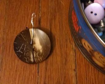Rustic Wooden Button Pendant