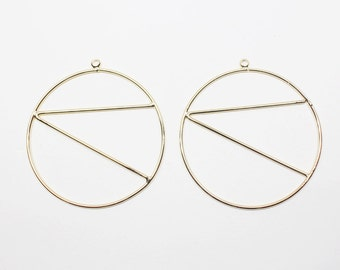 P0515/Anti-Tarnished  Gold Plating Over Brass/Triangle in Large Circle/39X42mm/2pcs