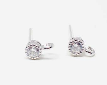 E0131/Anti-Tarnished Rhodium Plating Over Brass+Sterling Silver Post/ Tiny Circle Cubic Stud Earrings/4mm/2pcs
