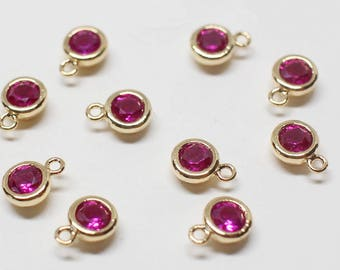 P0622/Anti-Tarnished Gold Plating Over Brass +CZ/July Ruby Birthstone Charm Pendant/4.2mm x 6mm (including a loop), 3mm CZ/2pcs
