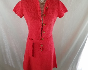 Early 1970's Vtg St John Knits Medium Boucle Hot Pink Skater Dress Gold Buttons