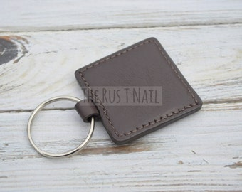 Square Leather Keychain - Chocolate - Slim Leather Keychain