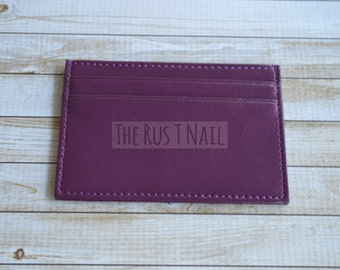 FREE SHIPPING - Slim Credit Card Wallet - Purple - Genuine Leather