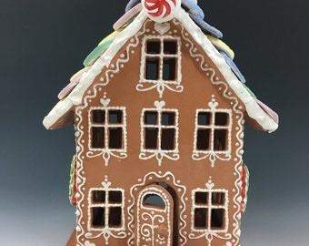 Ceramic Gingerbread House Luminary--with Necco Wafers, Peppermints, Ribbon Candies and Gumdrops