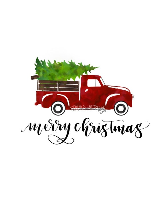 Vintage Truck With Christmas Tree Digital By