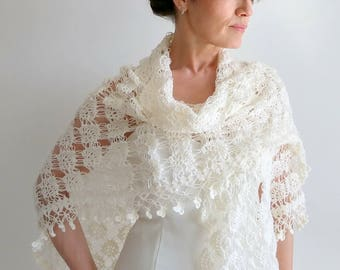 Crochet ivory shawl, bridal wrap, cream cover up, wedding shawl, crochet wrap, gift for her, lace shawl, fast shipping, READY TO SHİP