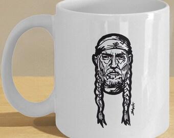 Willie Nelson Gift Mug - Country Western Music Fan Coffee Cup Decor Art - Braid and Bandana Drawing