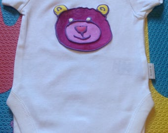 Baby Vest Hand painted 0-3/3-6/6-9/9-12 month Purple Pink Teddy Bear