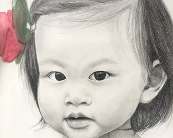 Sketch drawing of baby or child, pencil portrait from photo