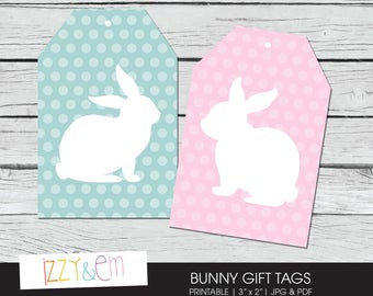 Easter basket tags etsy bunny gift tag printable easter tag printable gift tag easter bunny gift tags negle Images