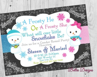 Winter Gender Reveal Invitation, Snowman, Snowgirl, Digital File, 5x7, 4x6,