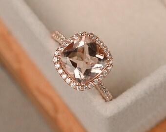 Morganite ring, rose gold, pink morganite, engagement rings, gemstone ring, cushion cut